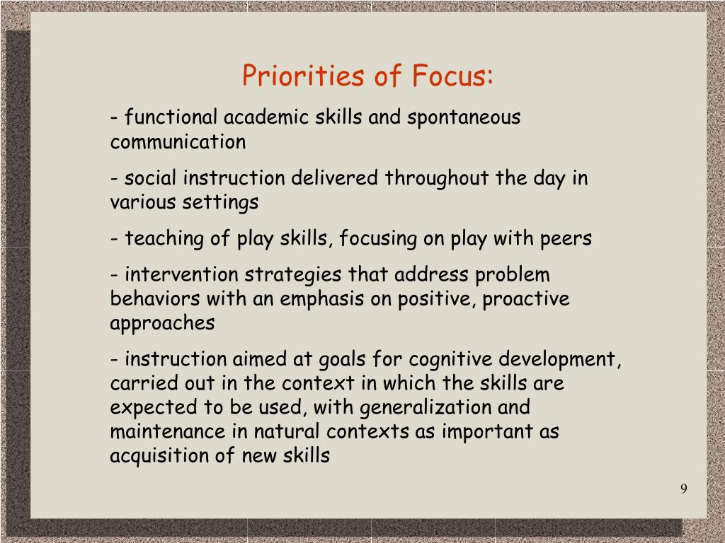 Priorities of Focus: