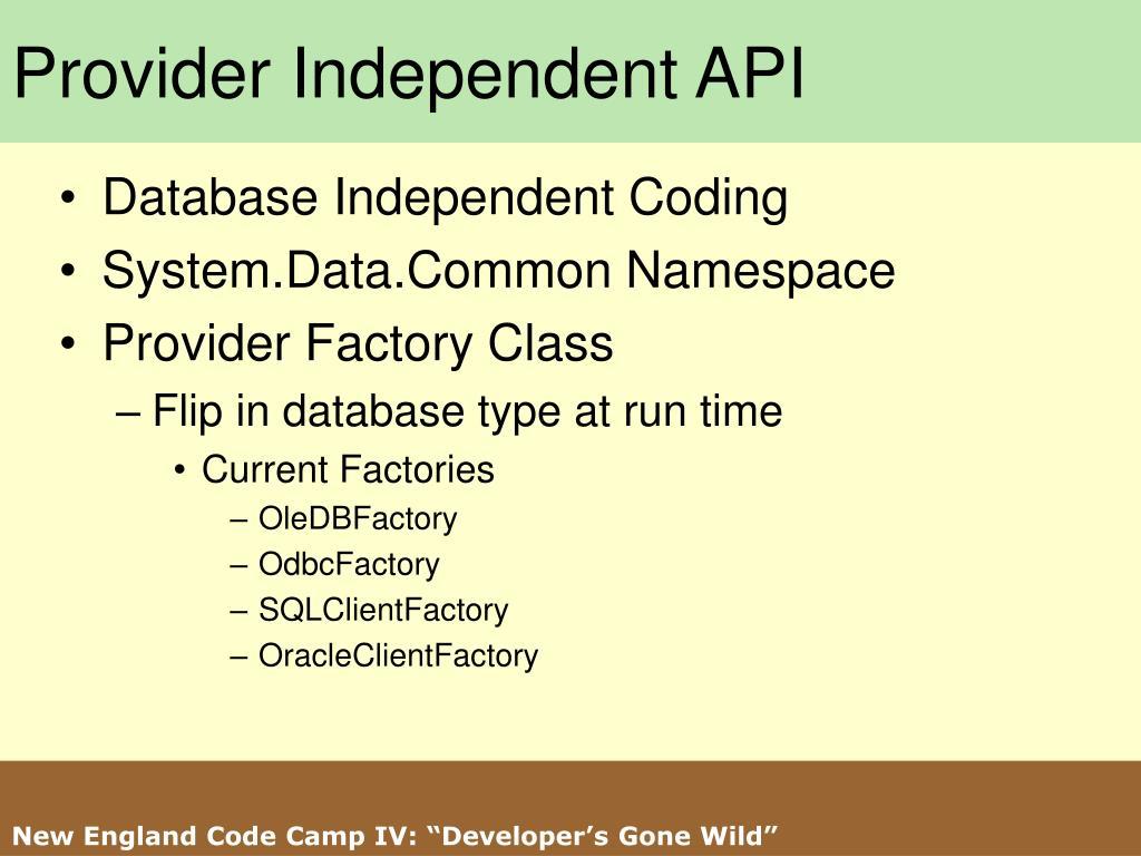 Provider Independent API