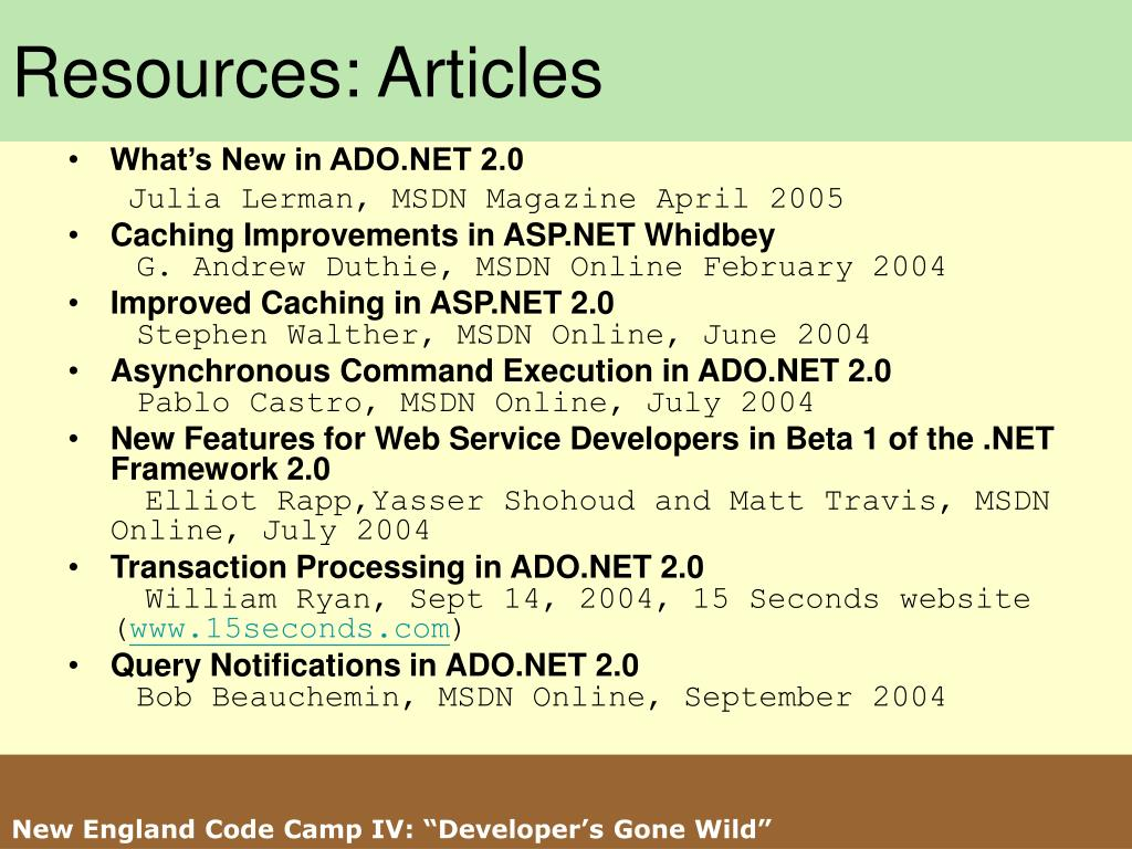 Resources: Articles