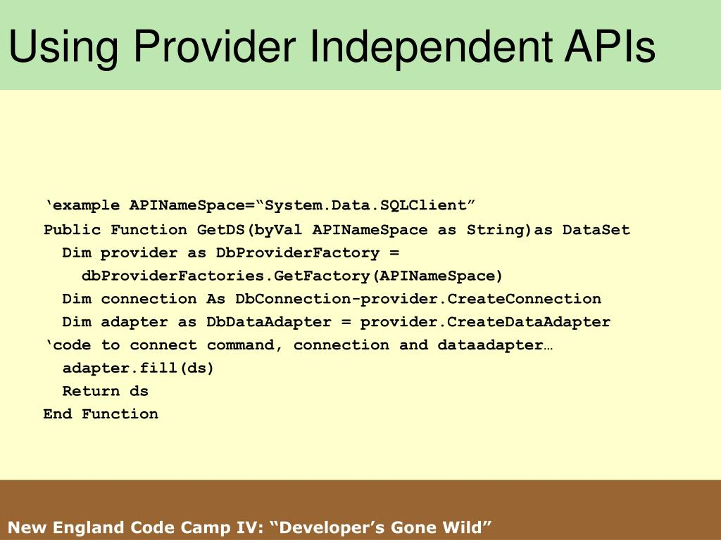 Using Provider Independent APIs