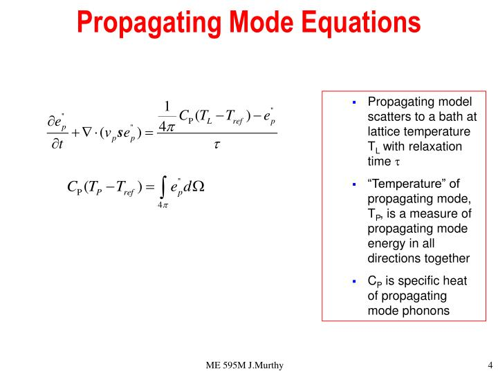 Propagating Mode Equations