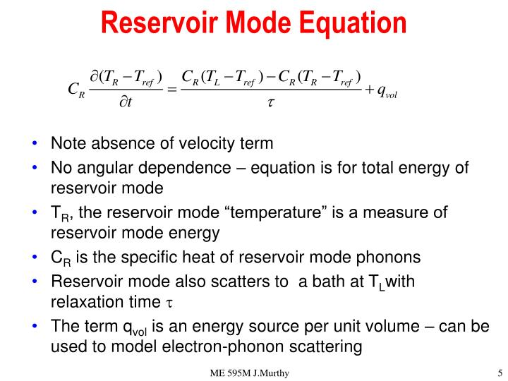 Reservoir Mode Equation
