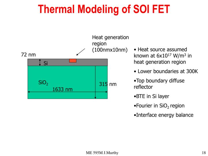 Thermal Modeling of SOI FET