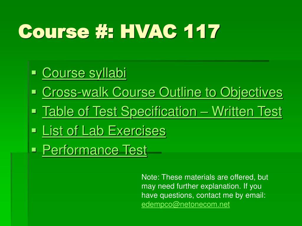 Course #: HVAC 117
