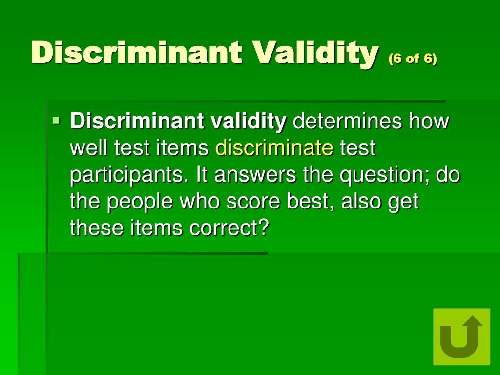 Discriminant Validity