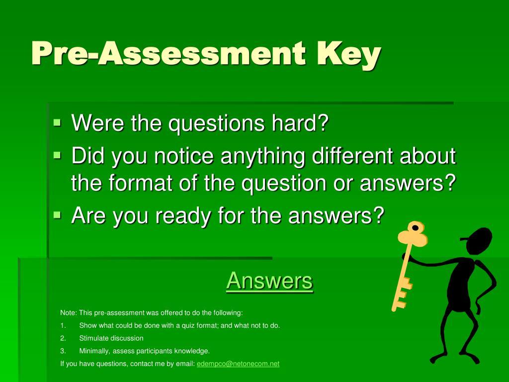 Pre-Assessment Key