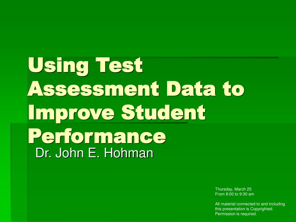 Using Test Assessment Data to Improve Student Performance