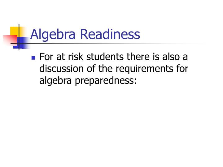 Algebra Readiness
