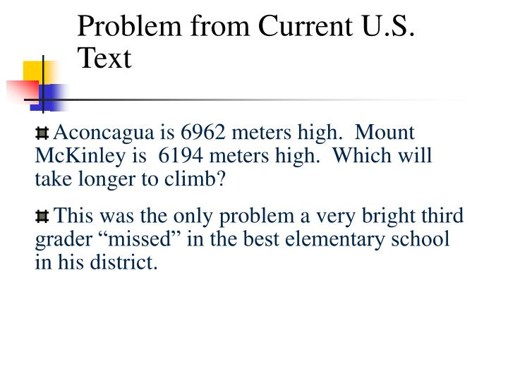 Problem from Current U.S. Text