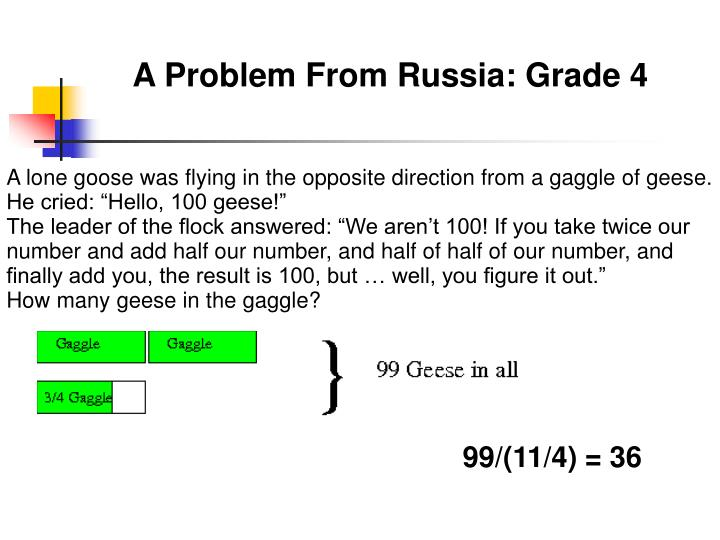 A Problem From Russia: Grade 4