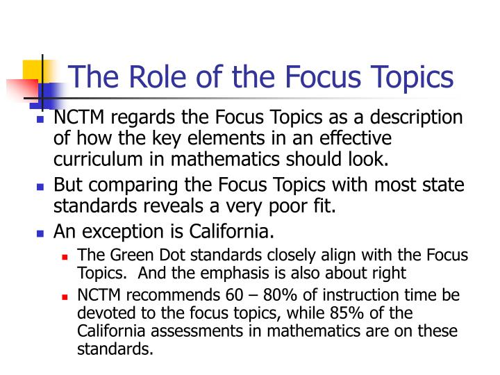 The Role of the Focus Topics