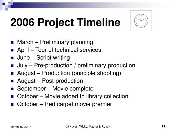2006 Project Timeline