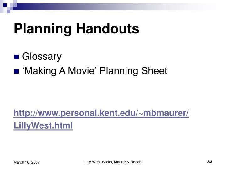 Planning Handouts
