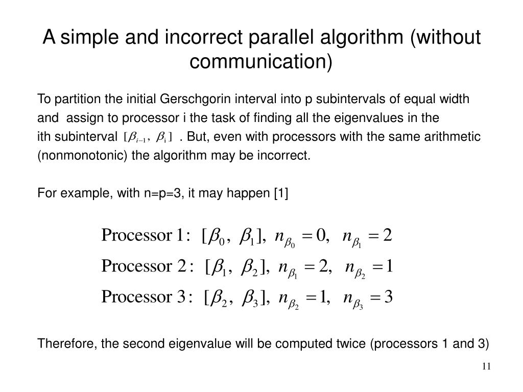 A simple and incorrect parallel algorithm (without communication)