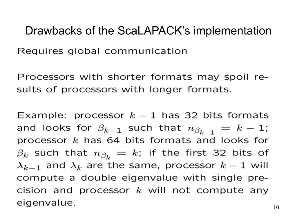 Drawbacks of the ScaLAPACK's implementation