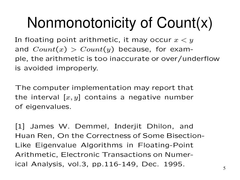 Nonmonotonicity of Count(x)