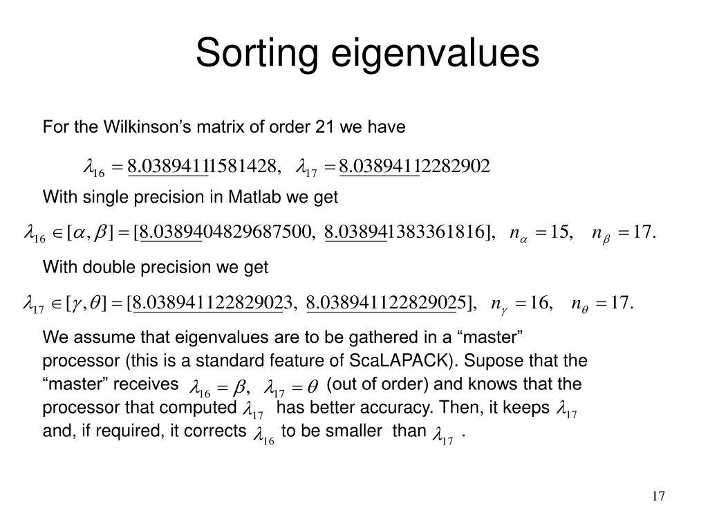 Sorting eigenvalues