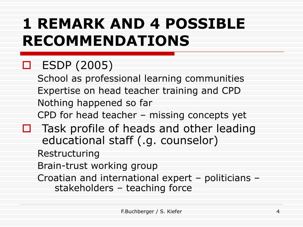 1 REMARK AND 4 POSSIBLE RECOMMENDATIONS