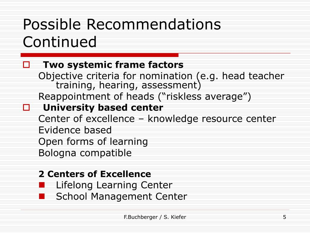 Possible Recommendations Continued