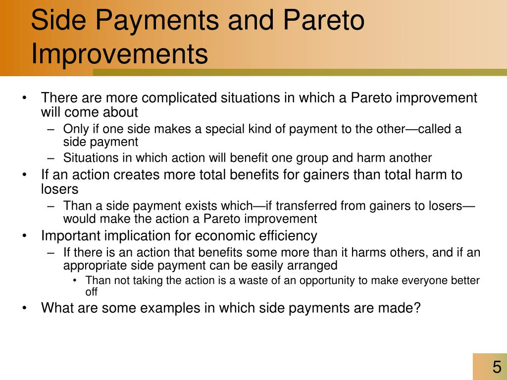 Side Payments and Pareto Improvements