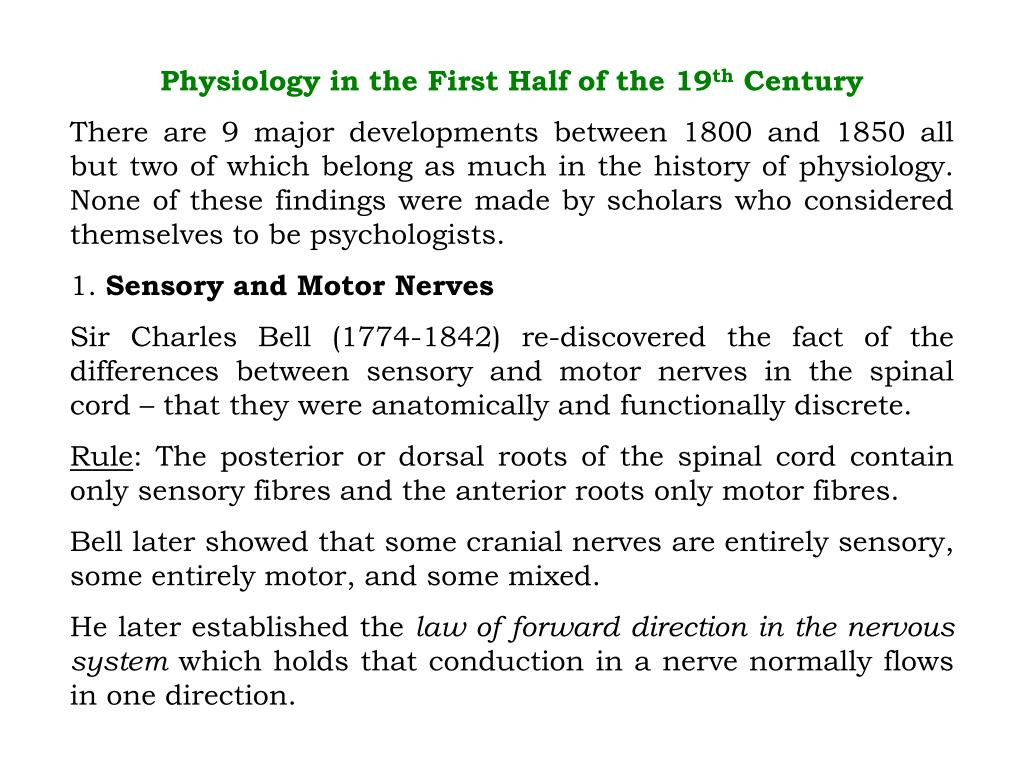 Physiology in the First Half of the 19