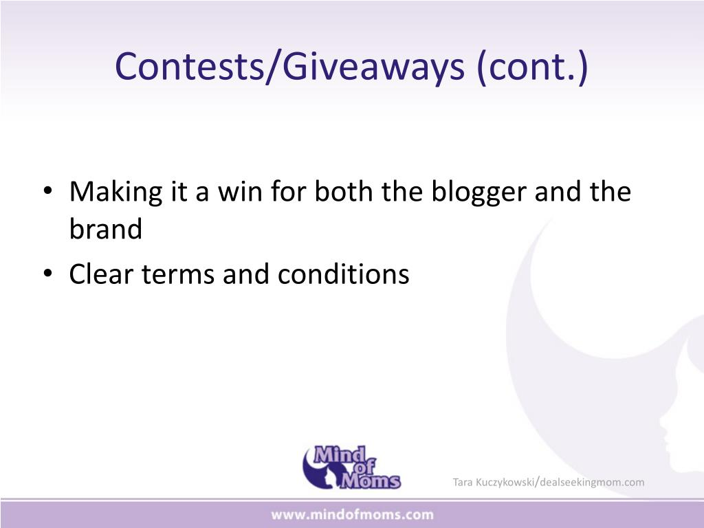 Contests/Giveaways (cont.)