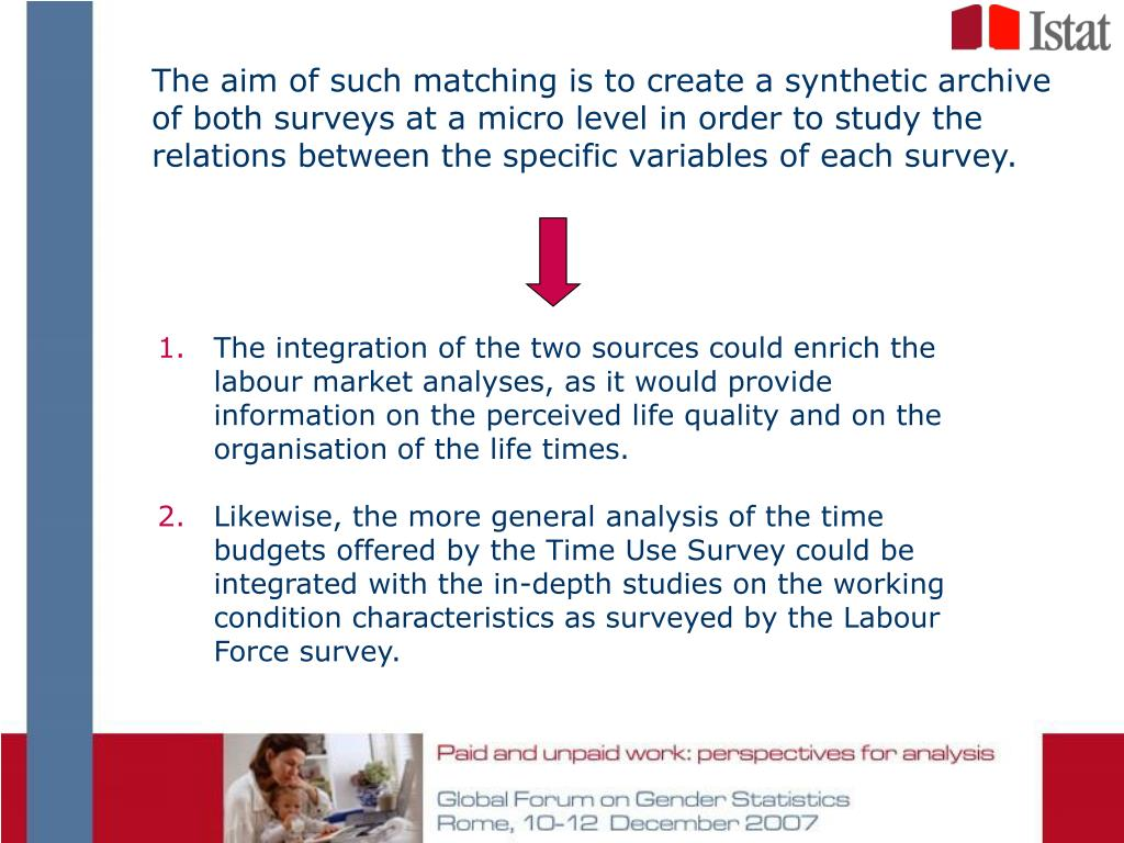 The aim of such matching is to create a synthetic archive of both surveys at a micro level in order to study the relations between the specific variables of each survey.