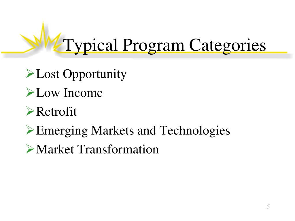 Typical Program Categories