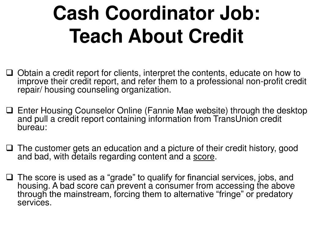 Cash Coordinator Job: