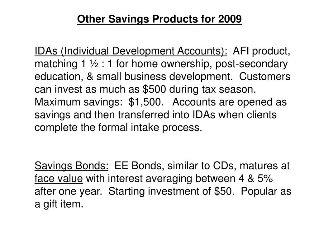 Other Savings Products for 2009