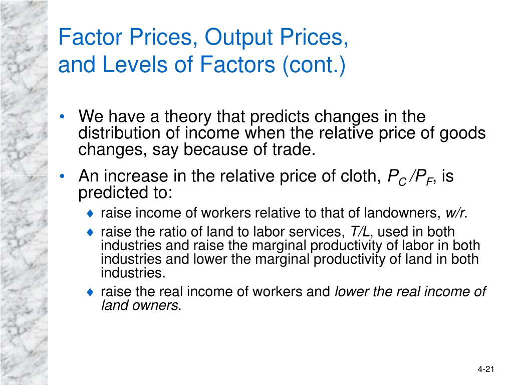 Factor Prices, Output Prices,