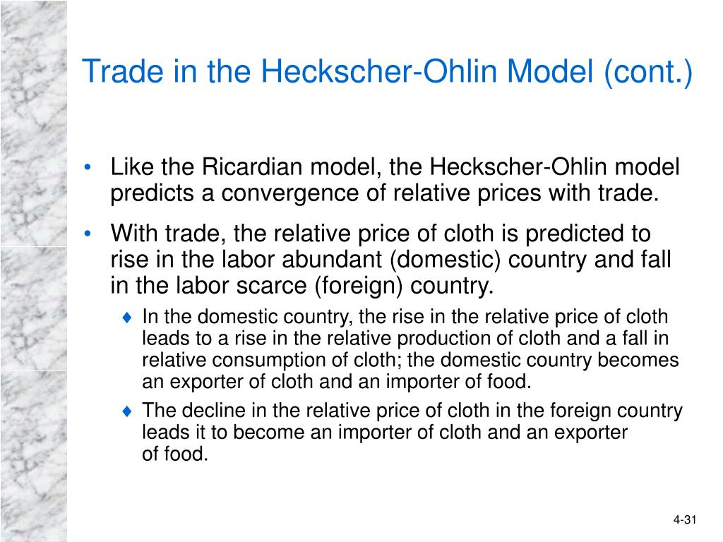 Trade in the Heckscher-Ohlin Model (cont.)