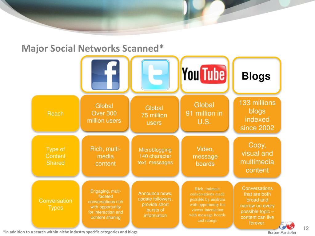 Major Social Networks Scanned*