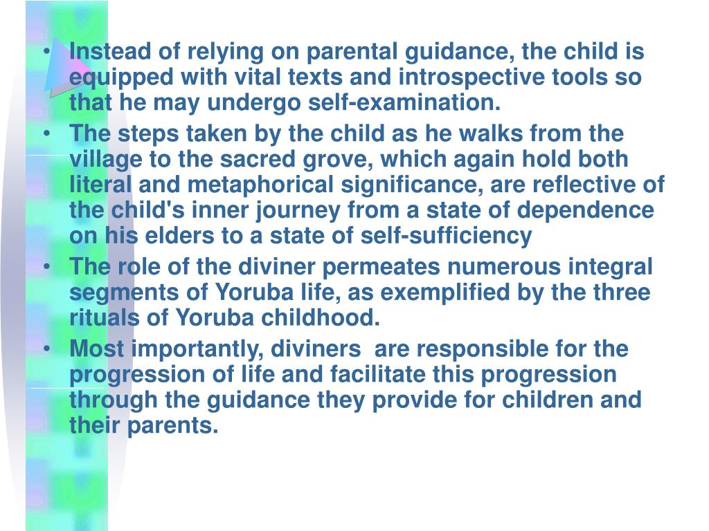 Instead of relying on parental guidance, the child is equipped with vital texts and introspective tools so that he may undergo self-examination.