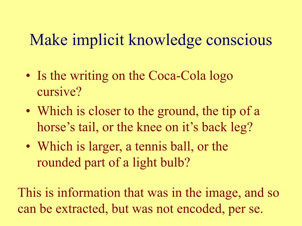 Make implicit knowledge conscious