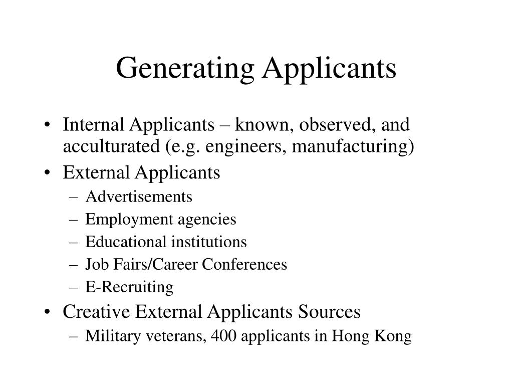 Generating Applicants