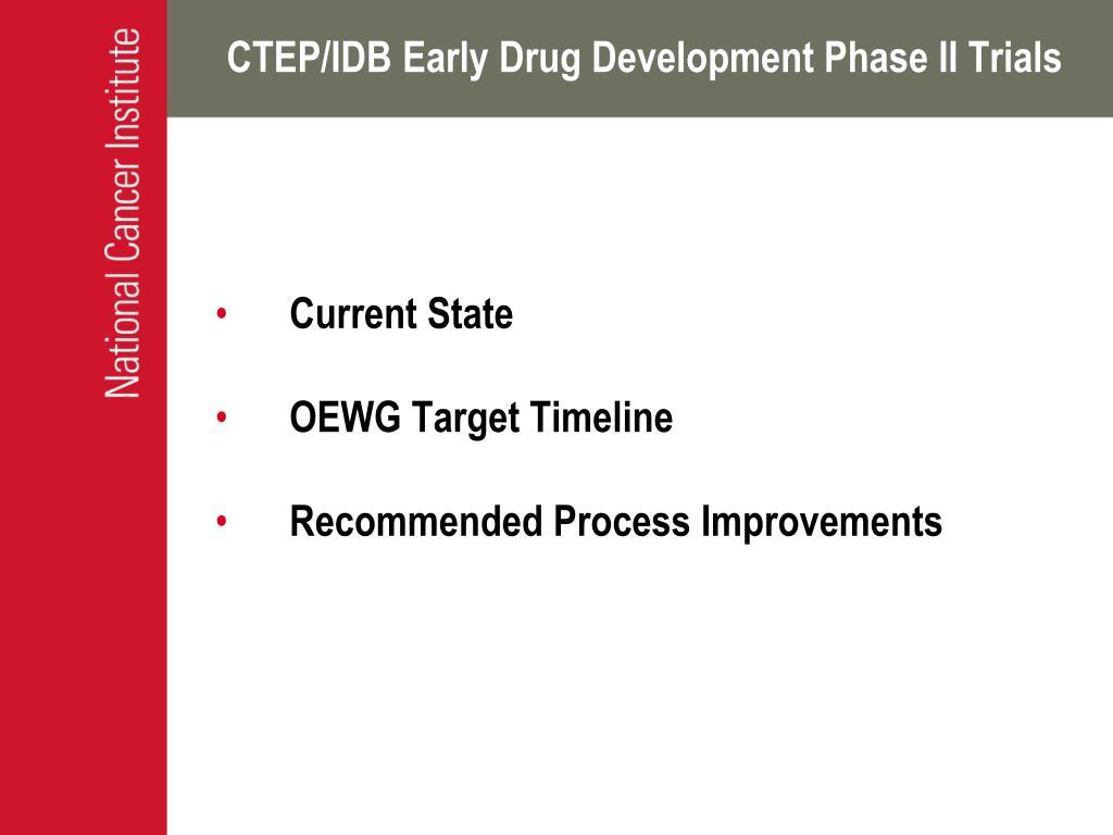 CTEP/IDB Early Drug Development Phase II Trials