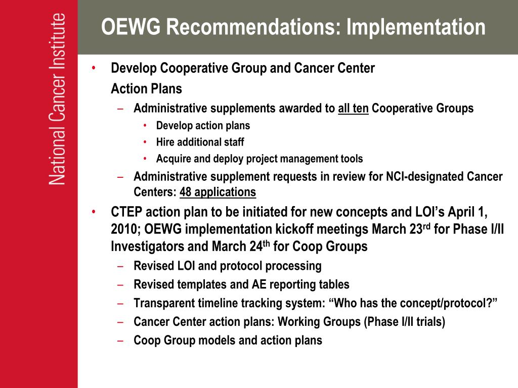 OEWG Recommendations: Implementation