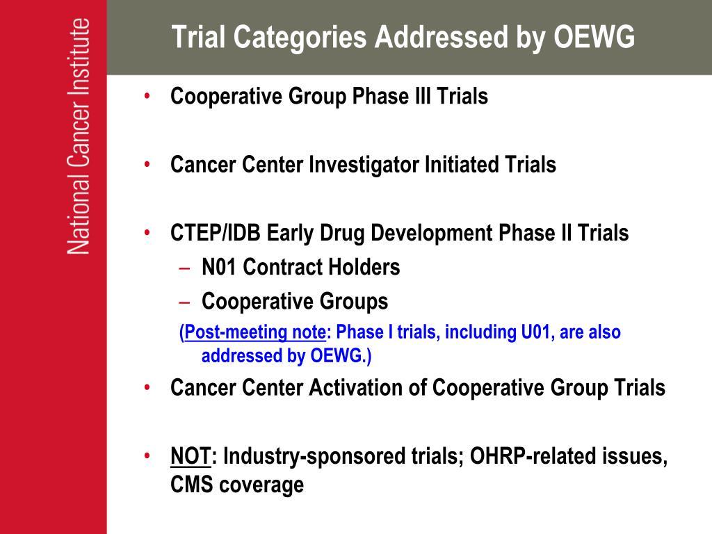 Trial Categories Addressed by OEWG