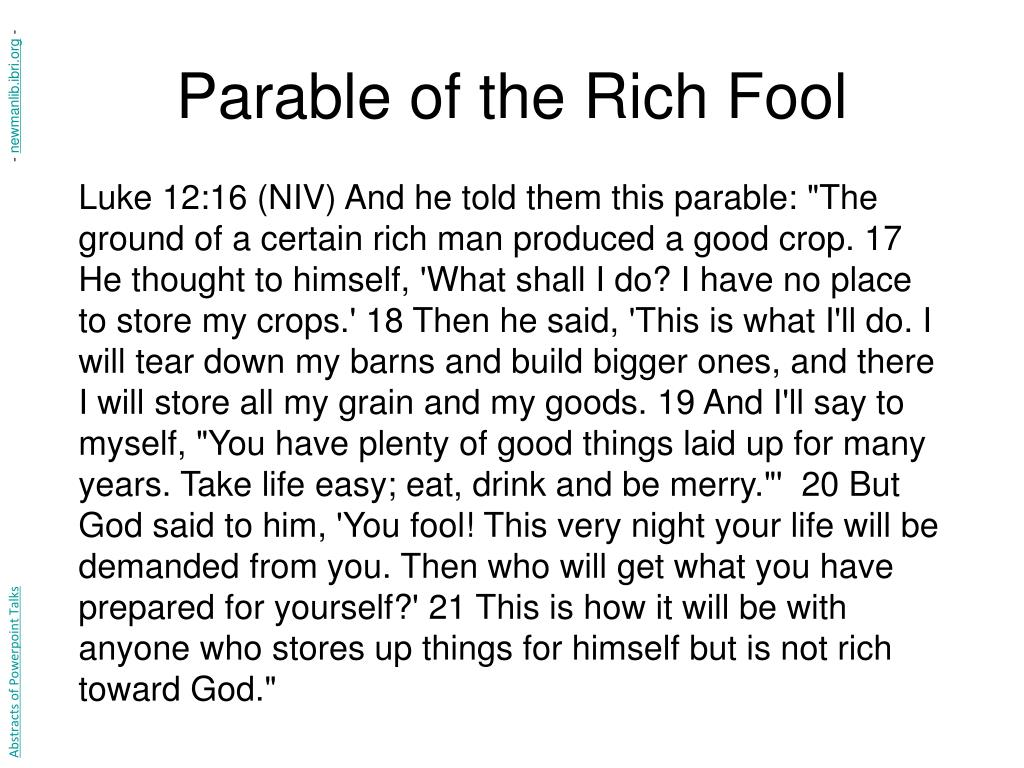 Parable of the Rich Fool