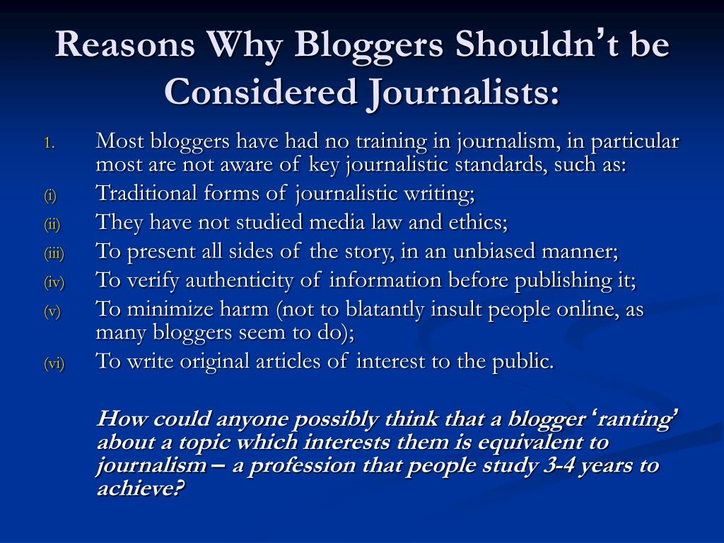 Reasons Why Bloggers Shouldn