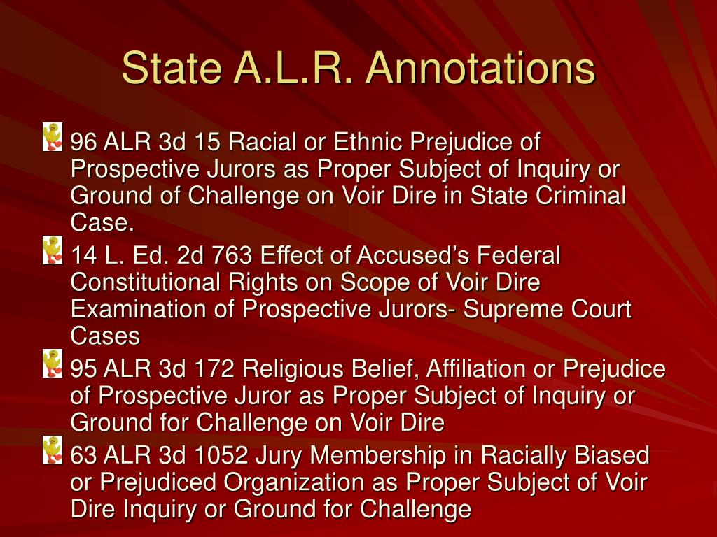 State A.L.R. Annotations