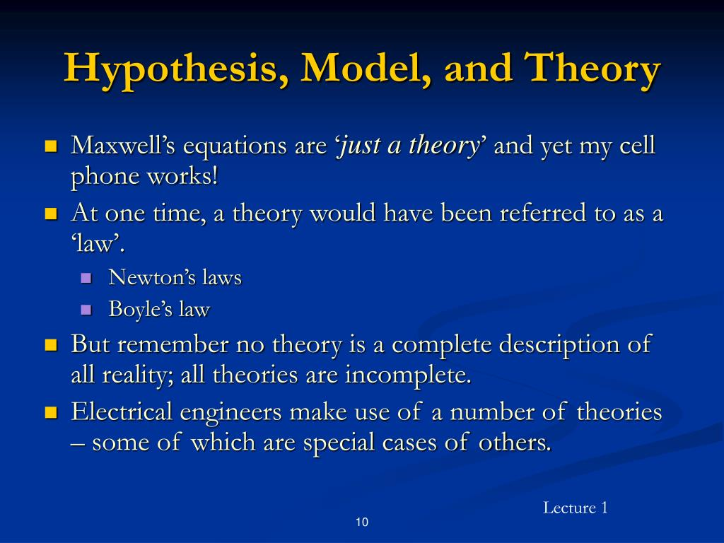 Hypothesis, Model, and Theory