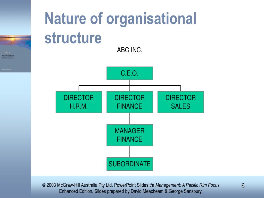 Nature of organisational structure