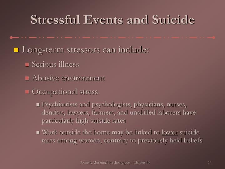 Stressful Events and Suicide