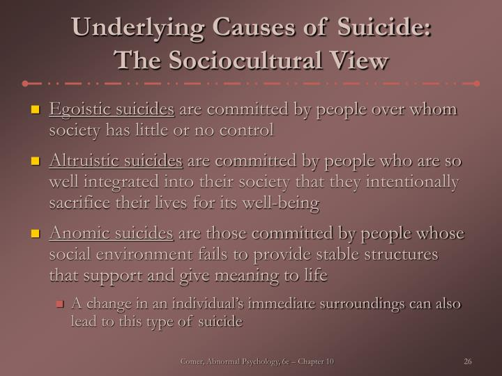 Underlying Causes of Suicide: