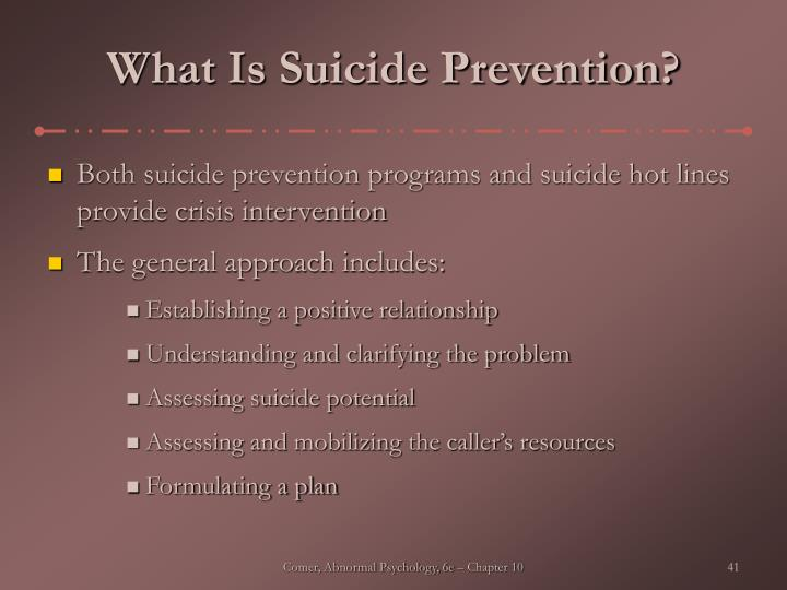 What Is Suicide Prevention?