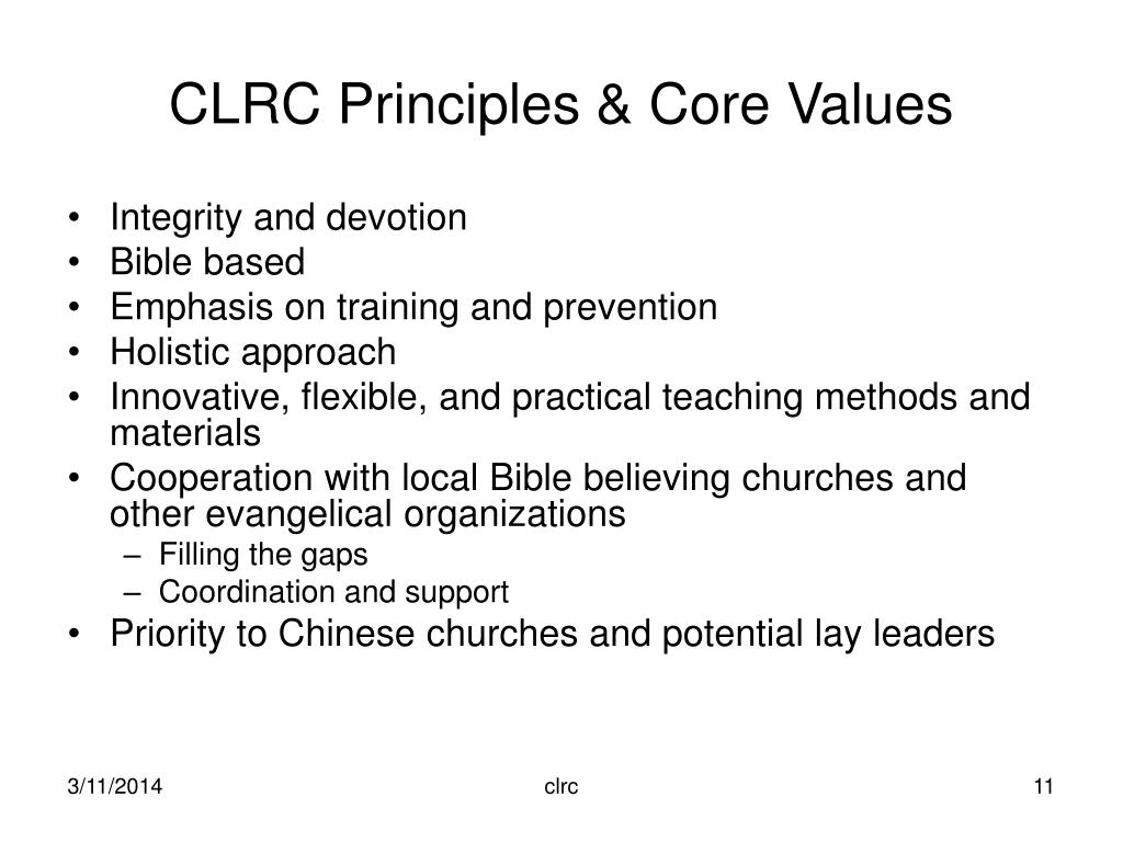CLRC Principles & Core Values