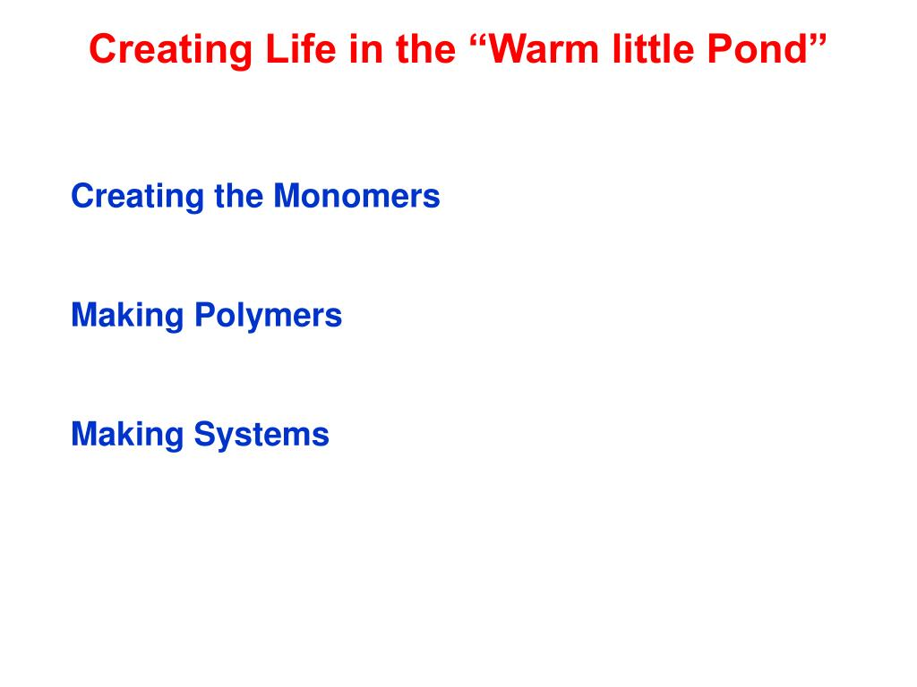 "Creating Life in the ""Warm little Pond"""