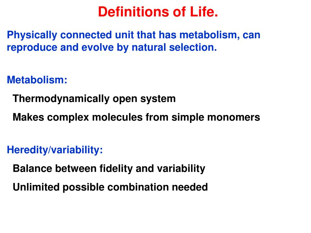 Definitions of Life.